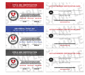 CPR first aid certification Cards