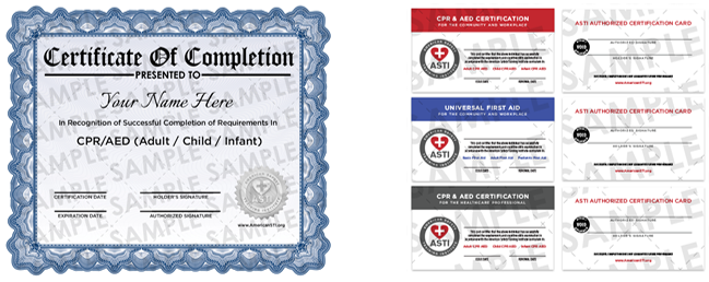 American safety training institute cpr aed first aid sample certification when handling an emergency first aid yadclub Choice Image
